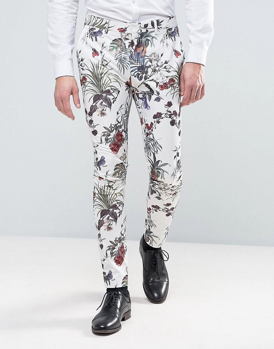 Asos Wedding Super Skinny Suit Pant In Cream Floral Print for Men   Lyst