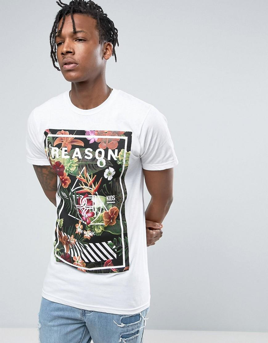 lyst reason logo tshirt in white with floral print in