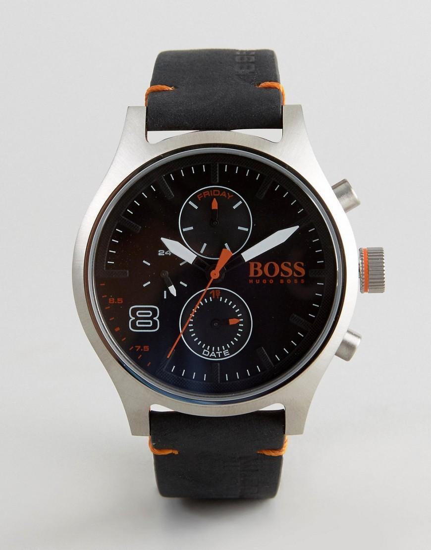 lyst boss orange by hugo boss amsterdam leather watch in. Black Bedroom Furniture Sets. Home Design Ideas