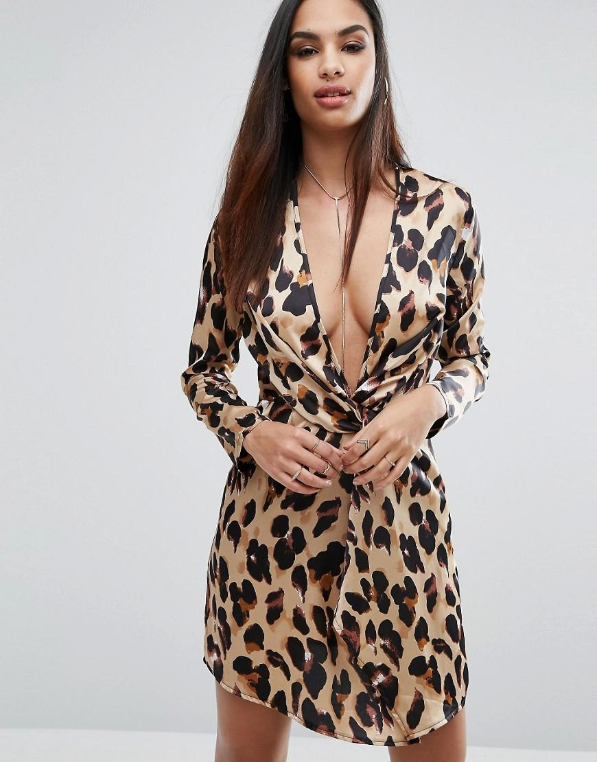 Missguided Leopard Print Wrap Dress In Brown Lyst