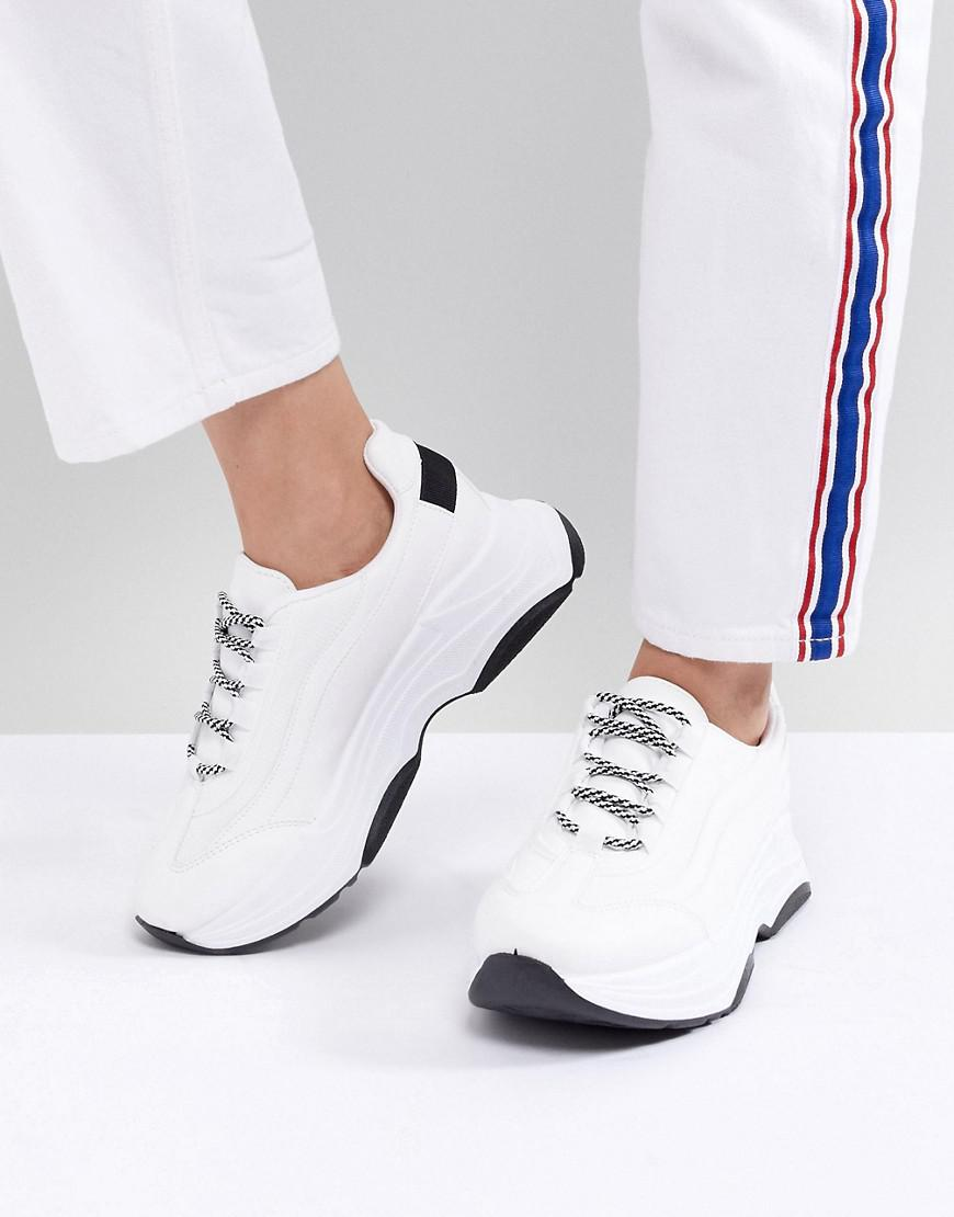 Womens White chunky lace-up trainers River Island RfhMBbKxB1