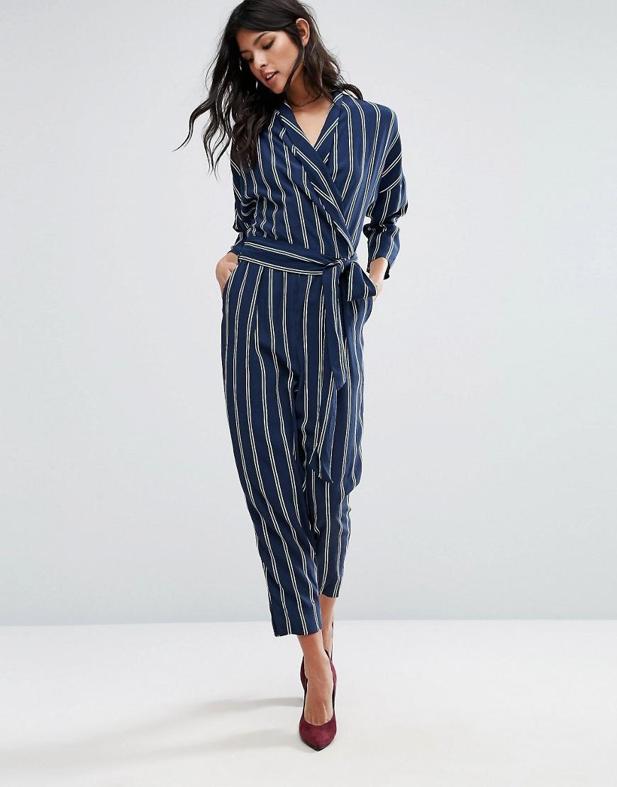Lyst Mango Stripe Wrap Front Jumpsuit In Blue