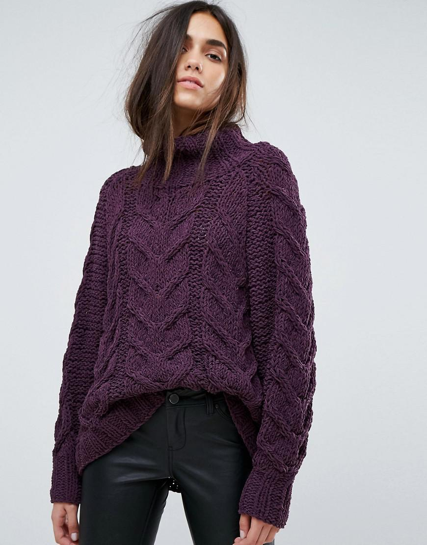 Selected Chunky Jumper in Purple | Lyst