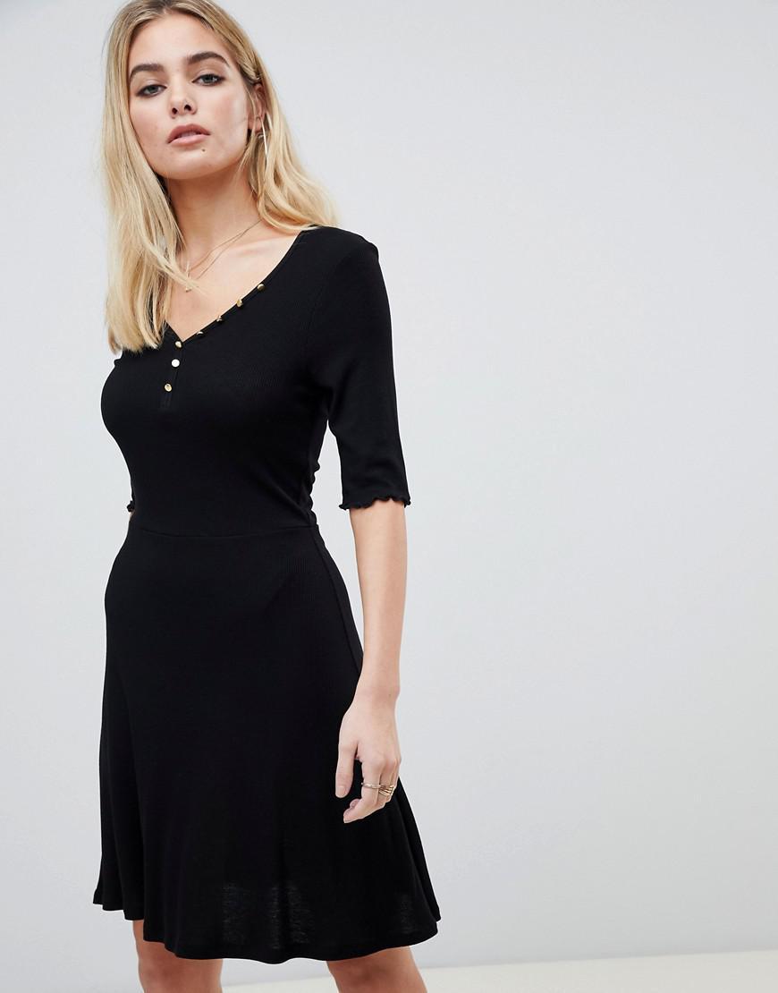 579b15af071e Lyst - ASOS V Neck Skater Dress With Buttons in Black