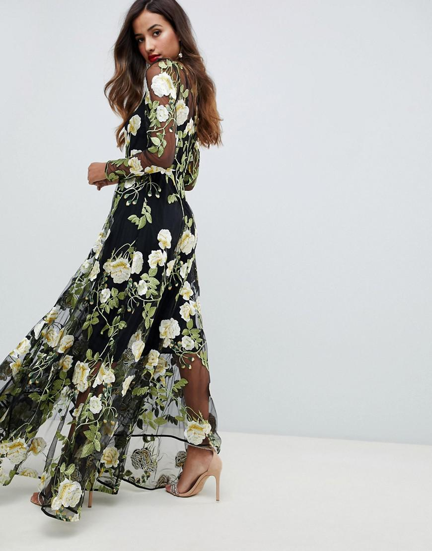 369d4e1cf5b5c ASOS Floral Embroidered Maxi Dress With Cutabout Skirt - Lyst
