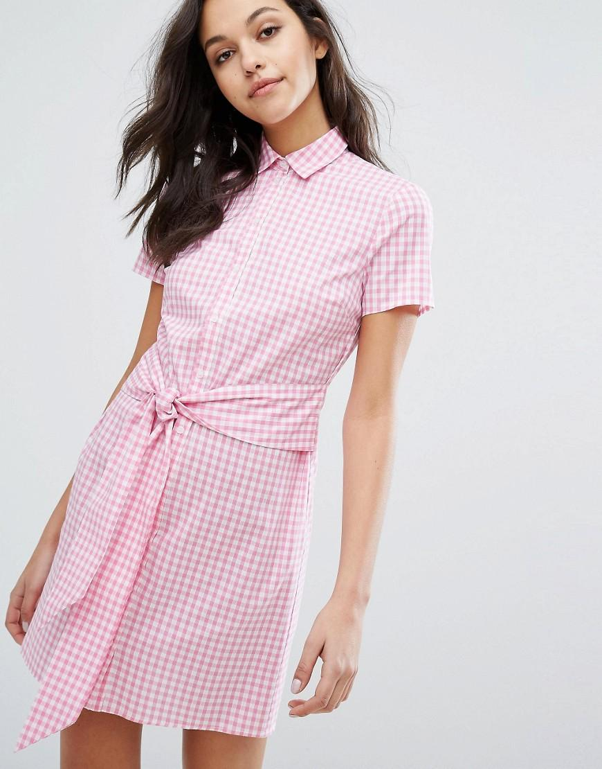 Miss selfridge gingham tie front shirt dress in pink lyst for Pink checkered dress shirt