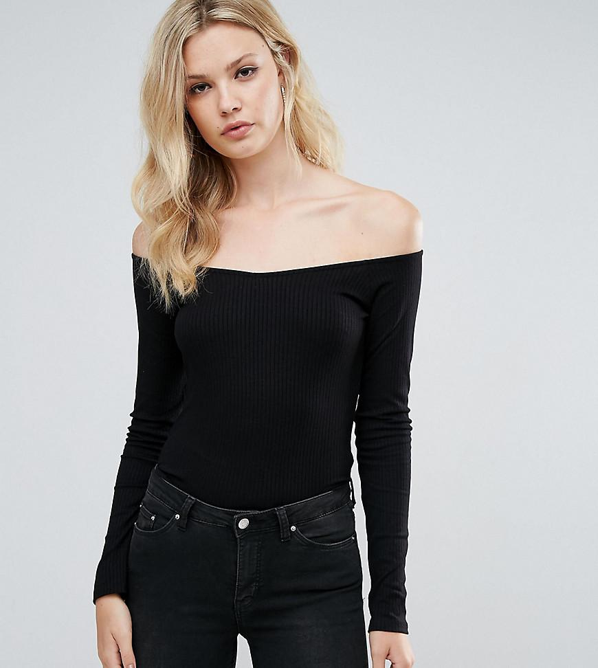 a9d8cbf6b2e Lyst - ASOS Top With Off Shoulder V Neck In Rib in Black