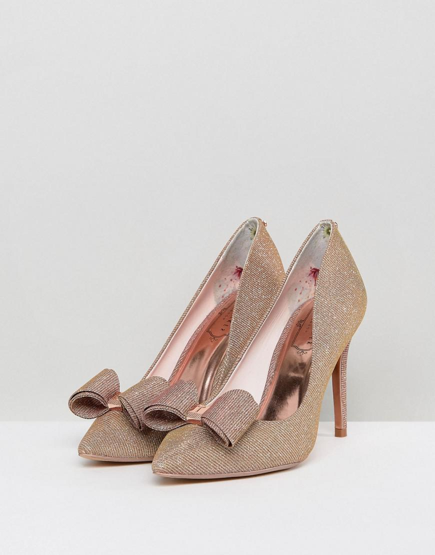 265759d3b7e Lyst - Ted Baker Azeline Rose Gold Sparkling Heeled Court Shoes in ...