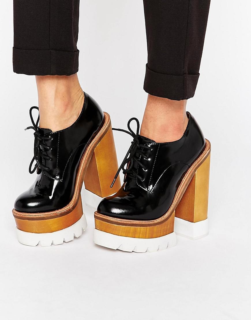 4e6c377974e Jeffrey Campbell Mega Platform Chunky Lace Up Leather Heeled Shoes ...