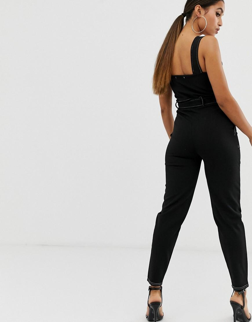 20ac7dfe8dd Lyst - Boohoo Exclusive Contrast Stitch Jumpsuit In Black in Black