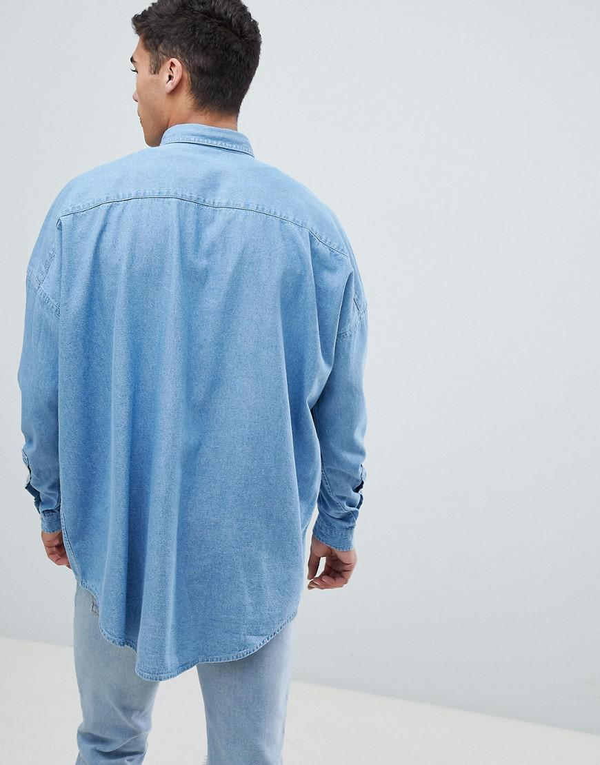 3c38449d262 ASOS Oversized Denim Shirt With Double Pockets in Blue for Men - Lyst