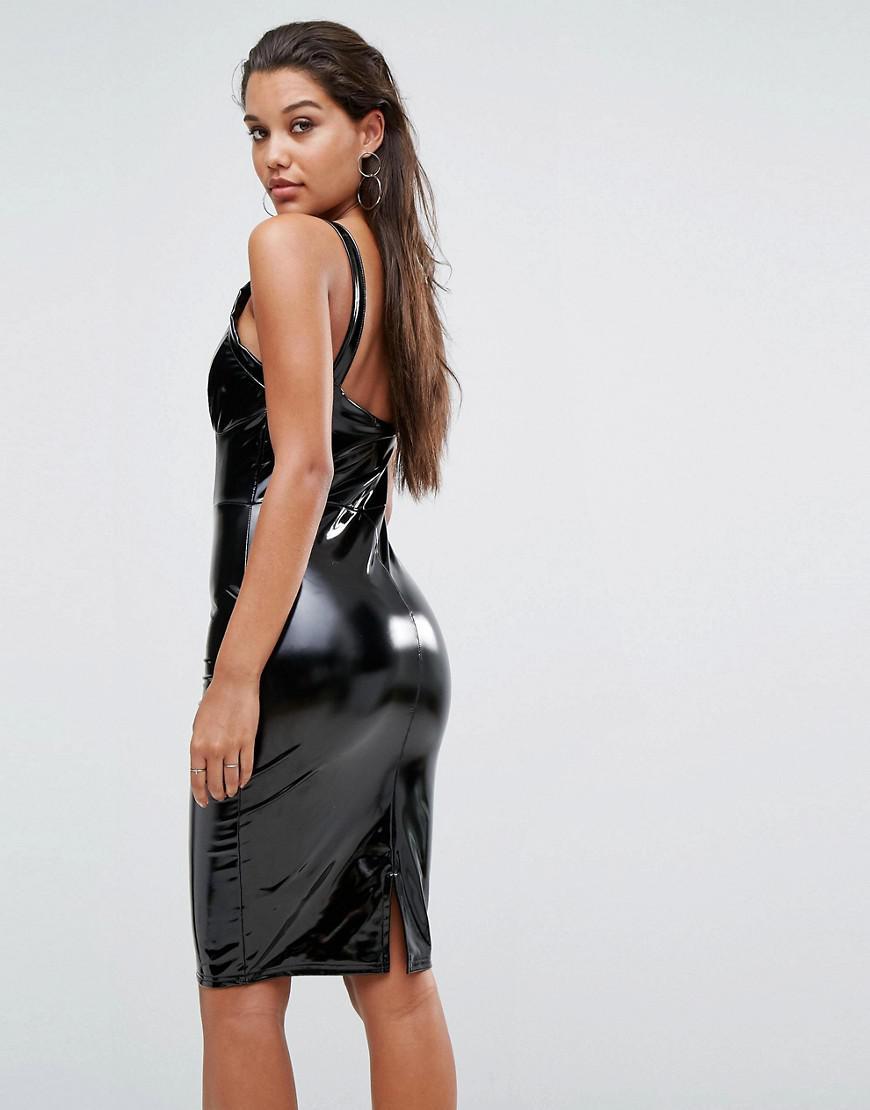 Lyst Lipsy High Shine Bodycon Midi Dress In Black