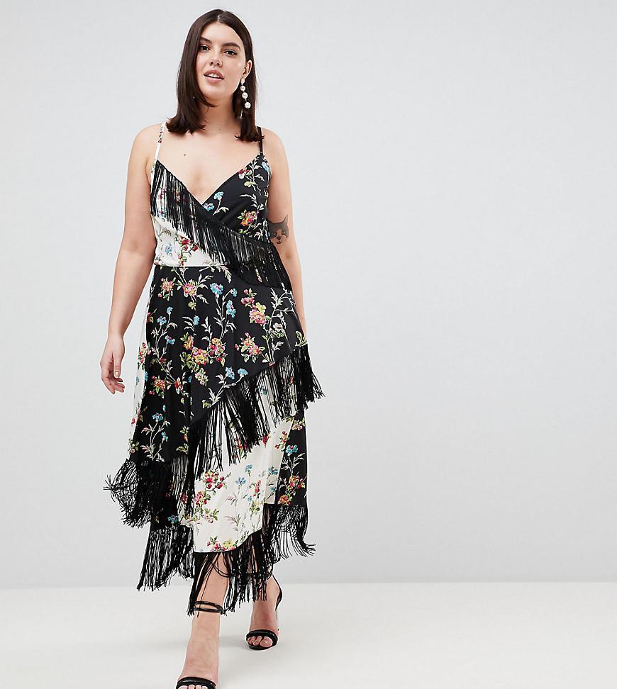 ASOS. Women s Black Asos Design Curve Fringe Cami Midi Dress In Mixed  Floral Print 3a3ff00d0
