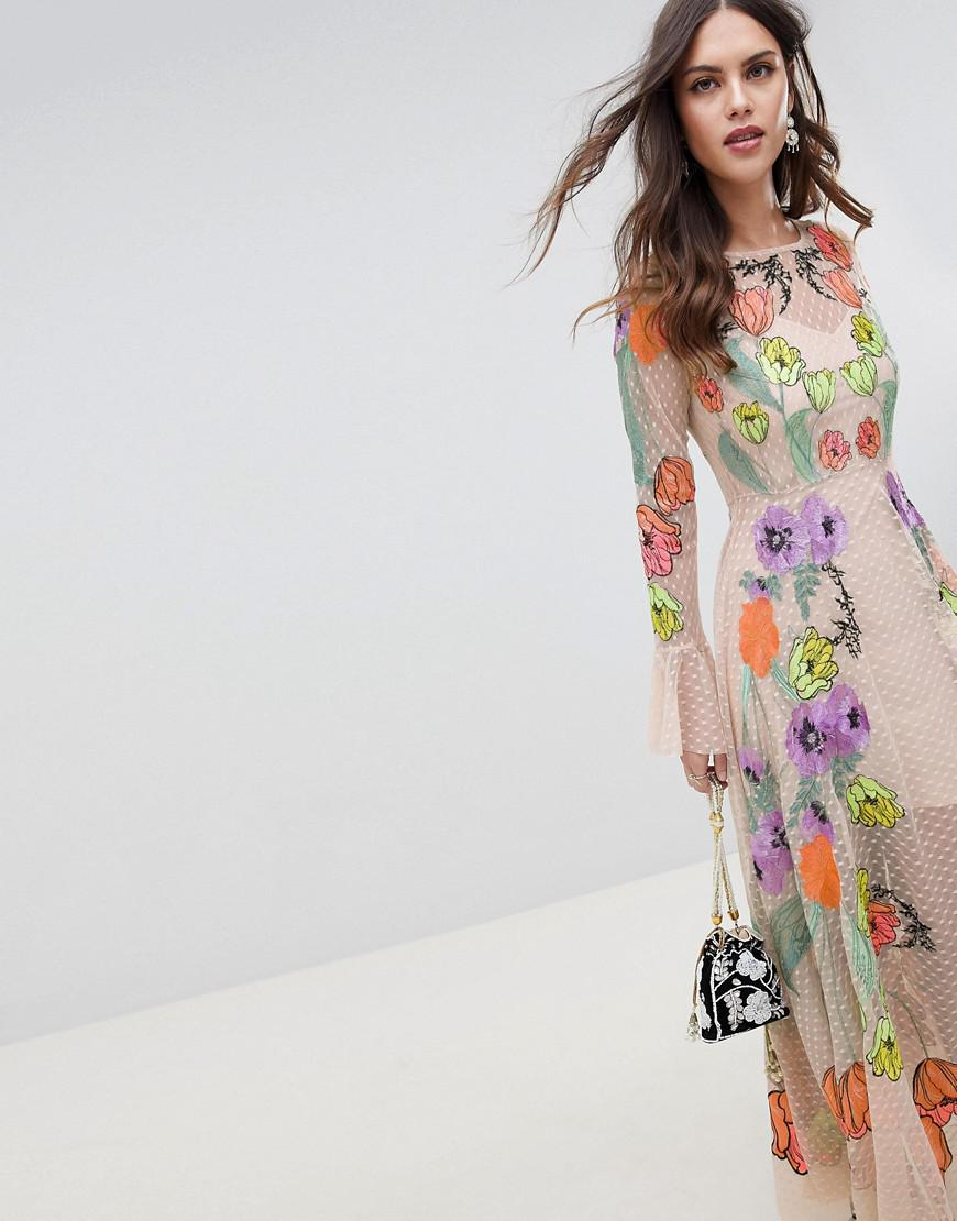 a38e07aa6a74a0 Lyst - ASOS Embroidered Floral Maxi Dress in Natural