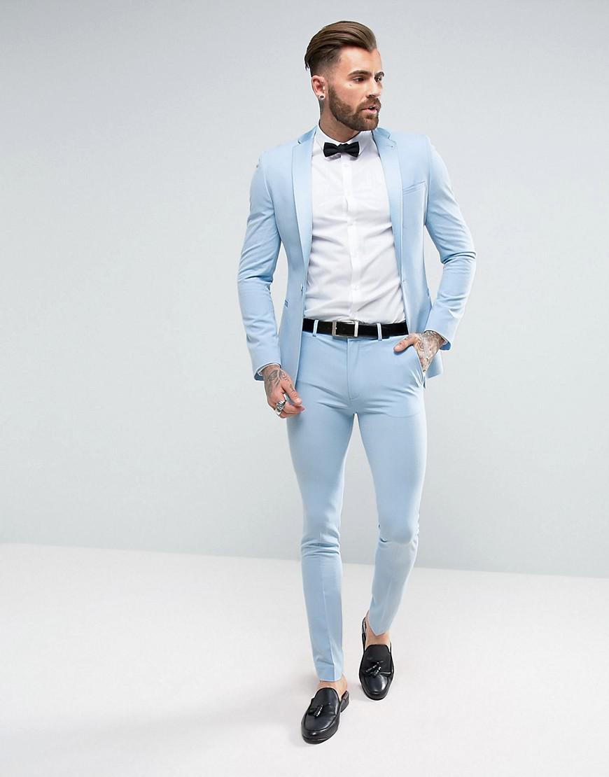 Lyst - Asos Super Skinny Prom Tuxedo Suit Trousers In Sky Blue in ...