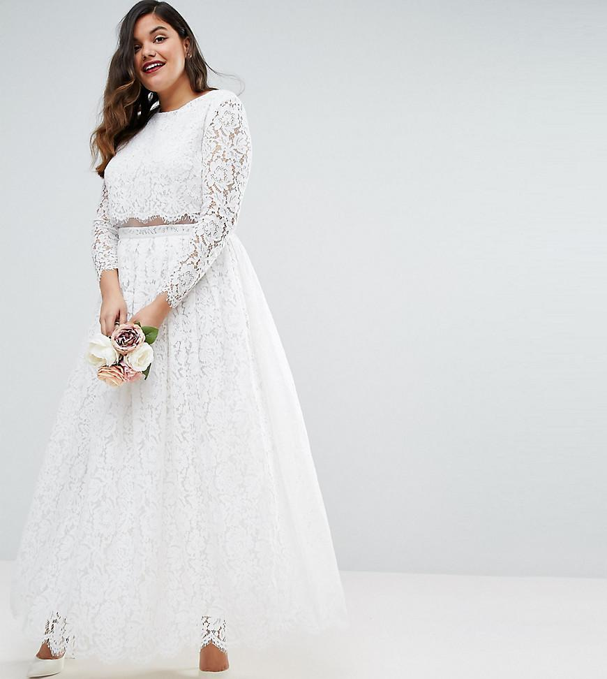 7379fb2c6adb Asos Edition Bridal Lace Long Sleeve Crop Top Maxi Dress - raveitsafe