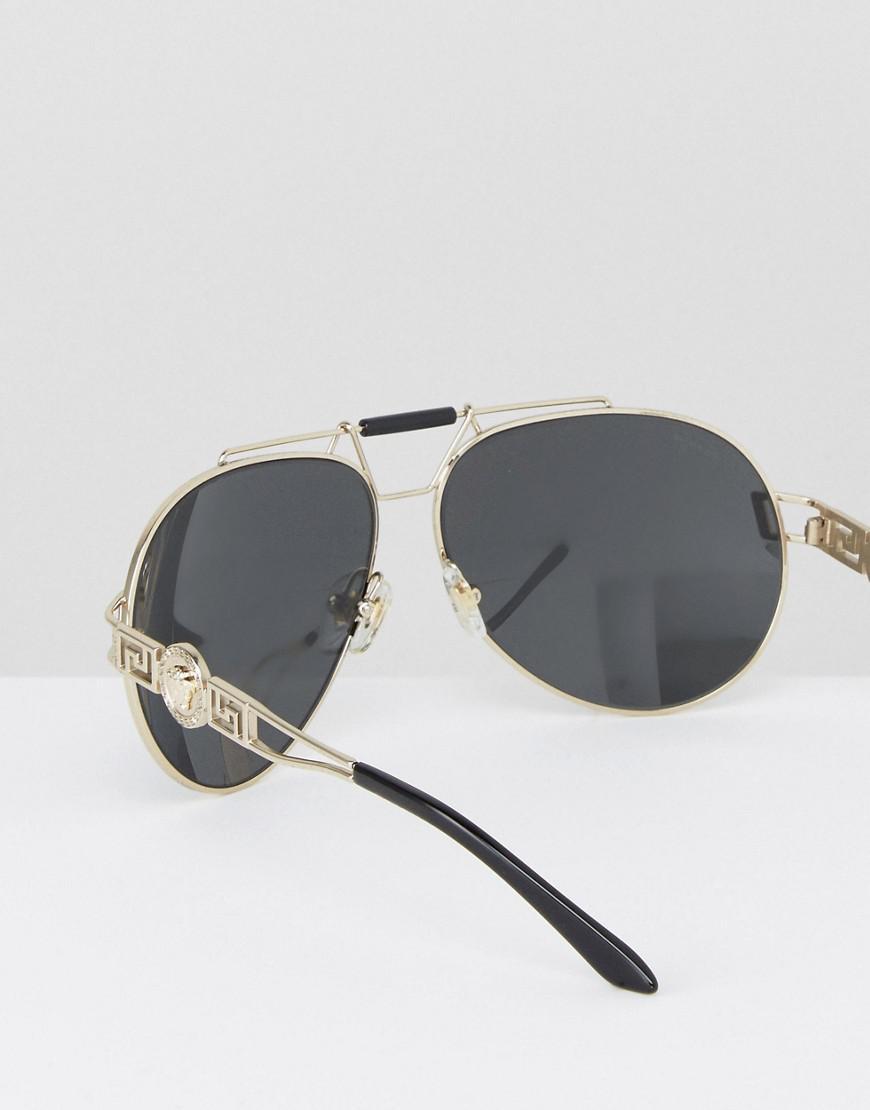 7af521781e5 Lyst - Versace Aviator Sunglasses With Side Medusa in Black for Men