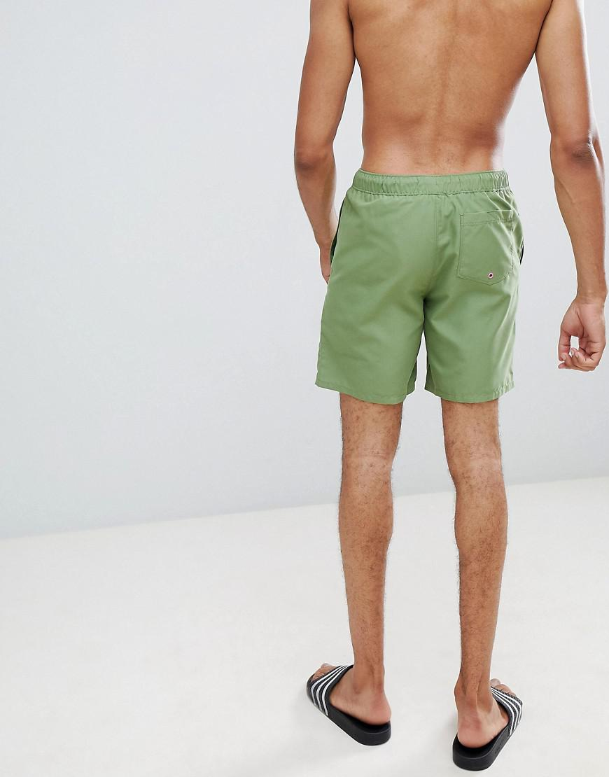 38048544c4 ASOS Tall Swim Shorts In Khaki With Neon Pink Drawcord Mid Length in Green  for Men - Lyst