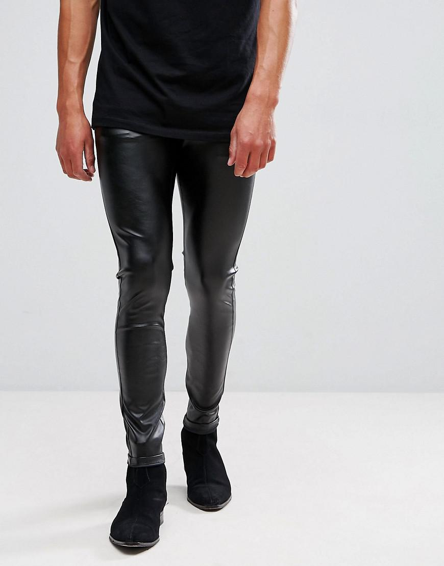 lyst asos extreme super skinny jeans in faux leather. Black Bedroom Furniture Sets. Home Design Ideas