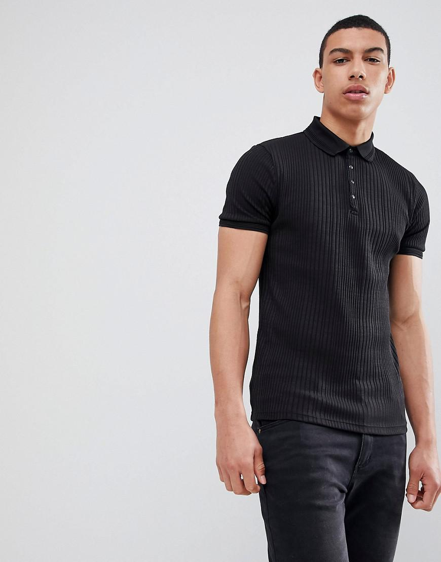 fe75356c Lyst - River Island Muscle Fit Rib Polo In Black in Black for Men