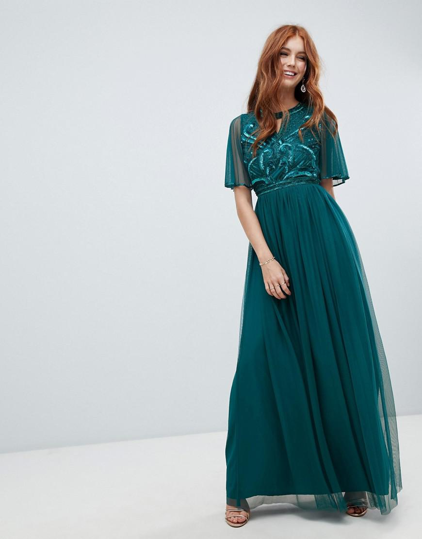 72dfb7a0 Amelia Rose Embellished Maxi Dress With Fluted Sleeve In Emerald ...