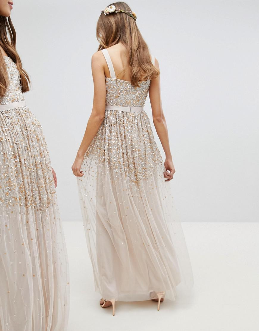 43219fc2 Amelia Rose Embellished Ombre Sequin Cami Strap Maxi Dress in Brown - Lyst