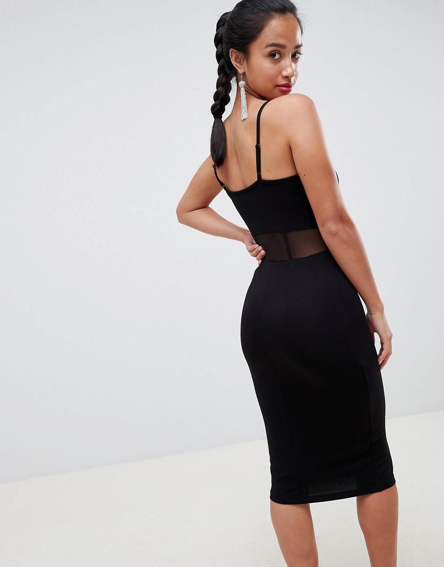 d8953727ef8d ASOS Asos Design Petite Midi Cami Bodycon Dress With Mesh Insert Detail in  Black - Lyst