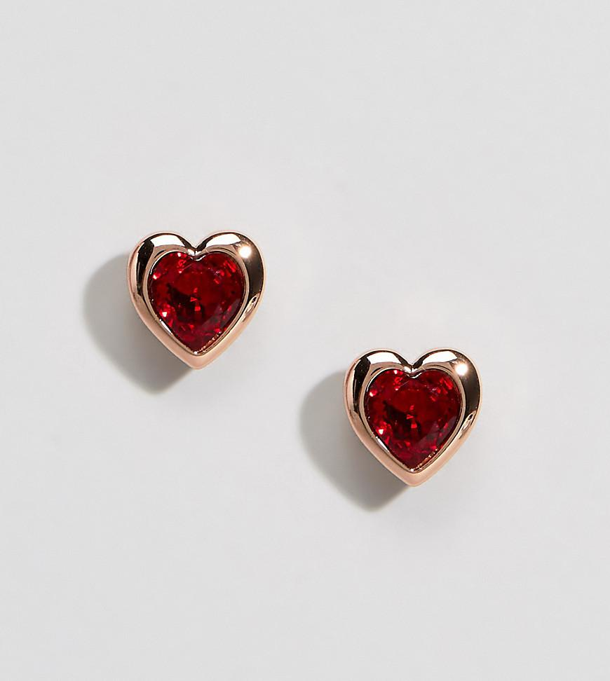 c811ec5f9 Ted Baker Rose Gold Red Crystal Heart Stud Earrings in Metallic - Lyst