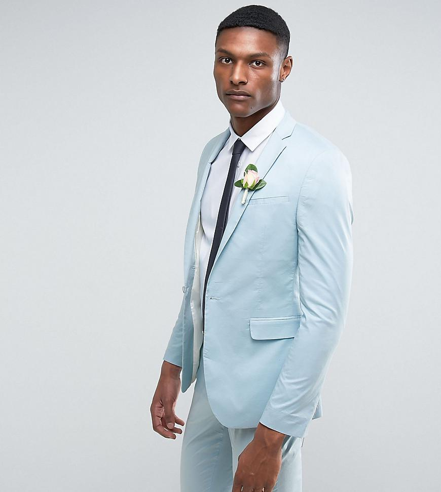 Lyst - Asos Tall Wedding Skinny Suit Jacket In Light Blue Stretch ...