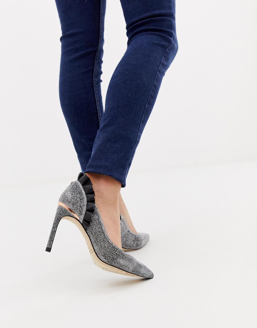 9d483b3aa Ted Baker. Women s Metallic Silver Sparkling Ruffle Detail Heeled Court  Shoes
