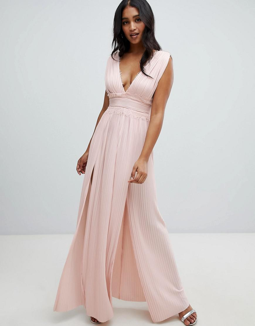 28292509a56f Lyst - ASOS Premium Lace Insert Pleated Maxi Dress in Pink