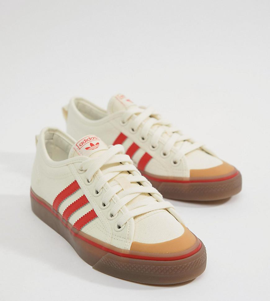 adidas Nizza Canvas Sneakers In White And Red