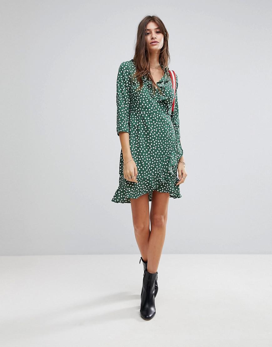 8efbd1bb014 Vero Moda Polka Dot Wrap Dress in Green - Lyst