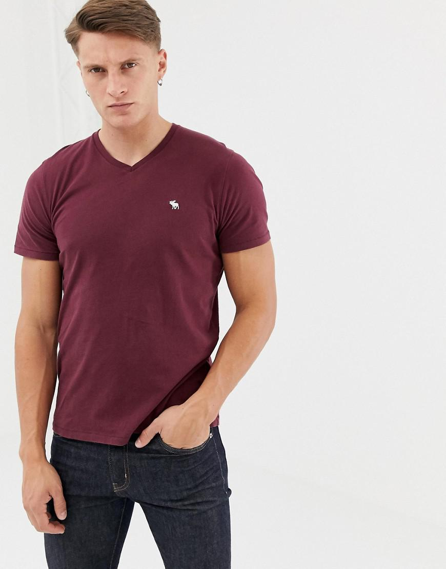 bc215730 Abercrombie & Fitch New Icon Logo V-neck T-shirt In Burgundy in Red ...