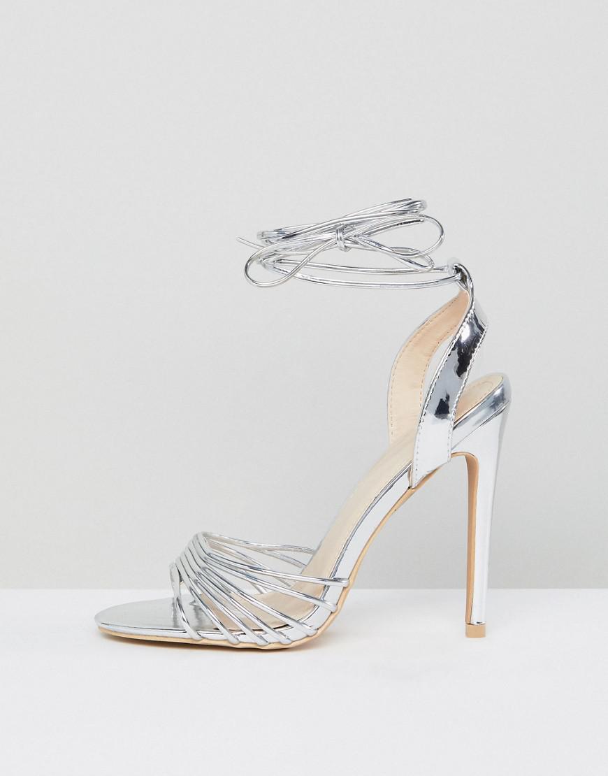 2ea9e57b47a Lyst - True Decadence Silver Ankle Tie Heeled Sandal in Metallic