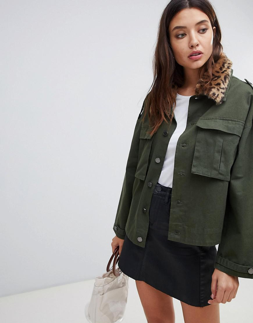 e7887a088622bd ... Green Utility Jacket With Leopard Print Collar - Lyst. View fullscreen