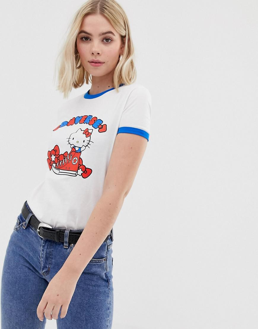 f99e734fc08220 Lyst - Converse X Hello Kitty White Graphic Ringer T-shirt in White