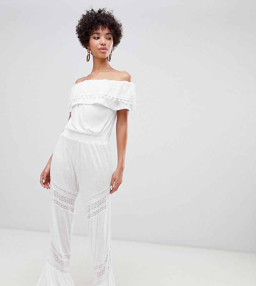 3c26ca881dd River Island. Women s Bardot Beach Jumpsuit With Frill Detail In White