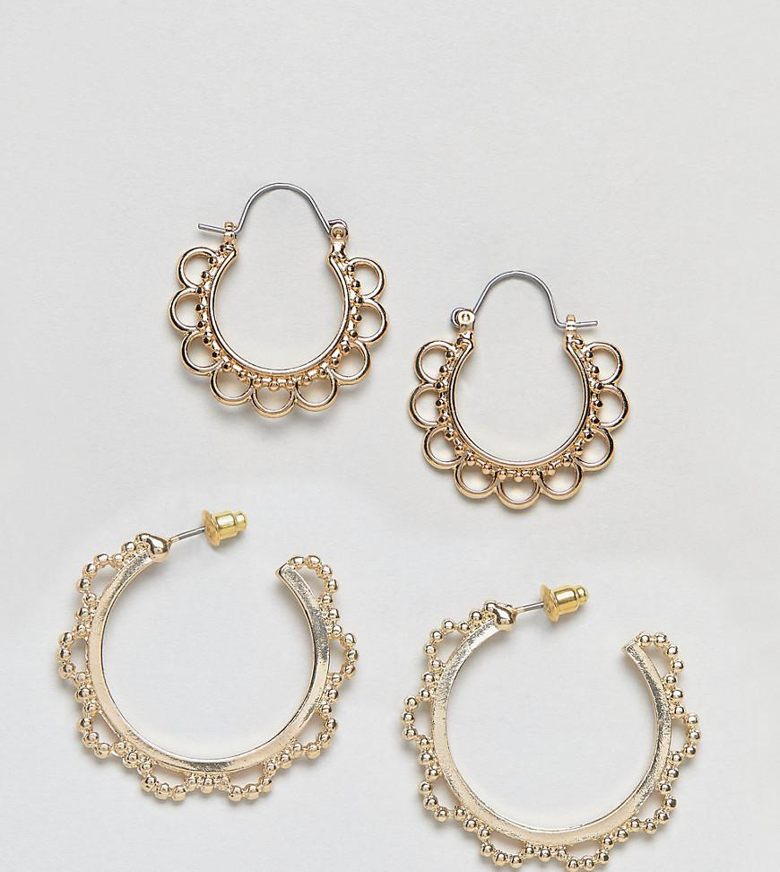 DESIGN Pack Of 2 Pearl Hoop Earrings - Gold Asos 3p1l5Ai1