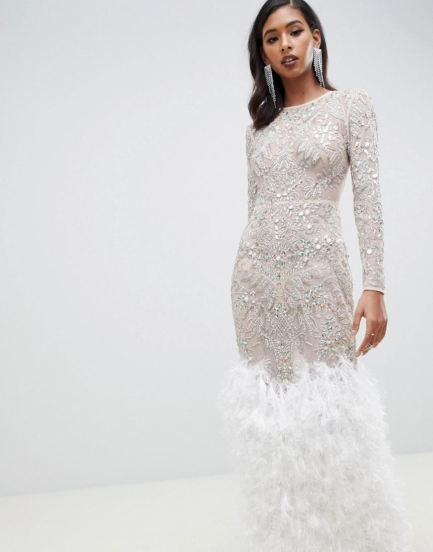 983fec8f3c2a ASOS Embellished Sequin Maxi Dress With Faux Feather Trim in Natural ...