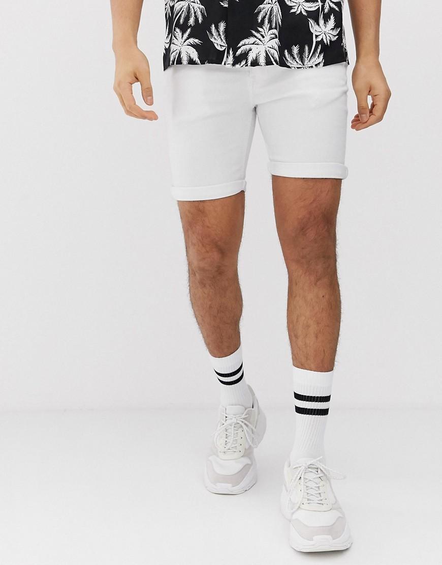 81f3bb67581d BoohooMAN Skinny Denim Shorts In White in White for Men - Lyst