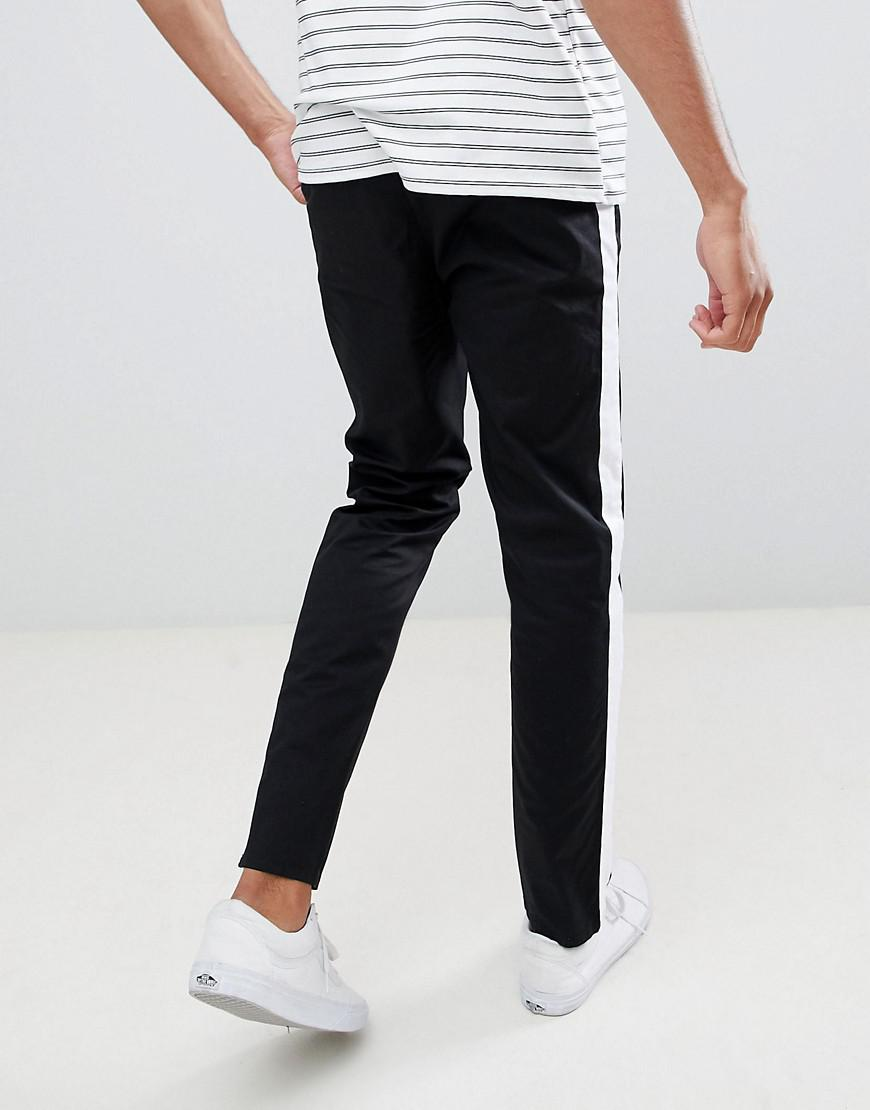02157750 ASOS Tall Slim Chinos With Side Stripe In Black in Black for Men - Lyst
