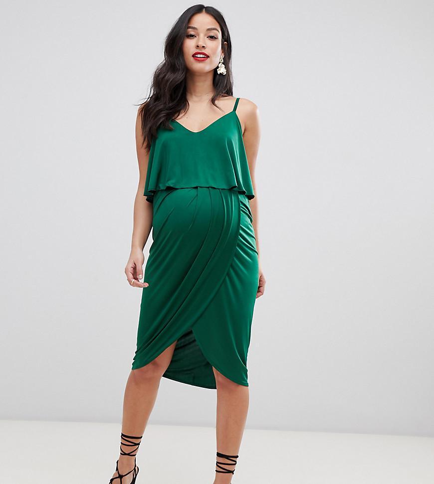 f39626ec8cbfe ... Asos Design Maternity Slinky Wrap Midi Dress - Lyst. View fullscreen