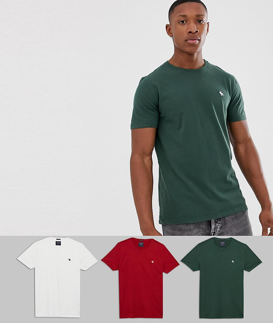 4b39bbe0 Lyst - Abercrombie & Fitch 3 Pack Icon Logo T-shirt In Red/white ...