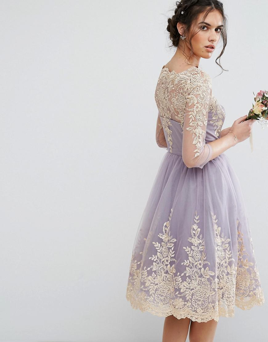 6098495d96 Lyst - Chi Chi London Metallic Premium Lace Midi Dress With 3 4 ...