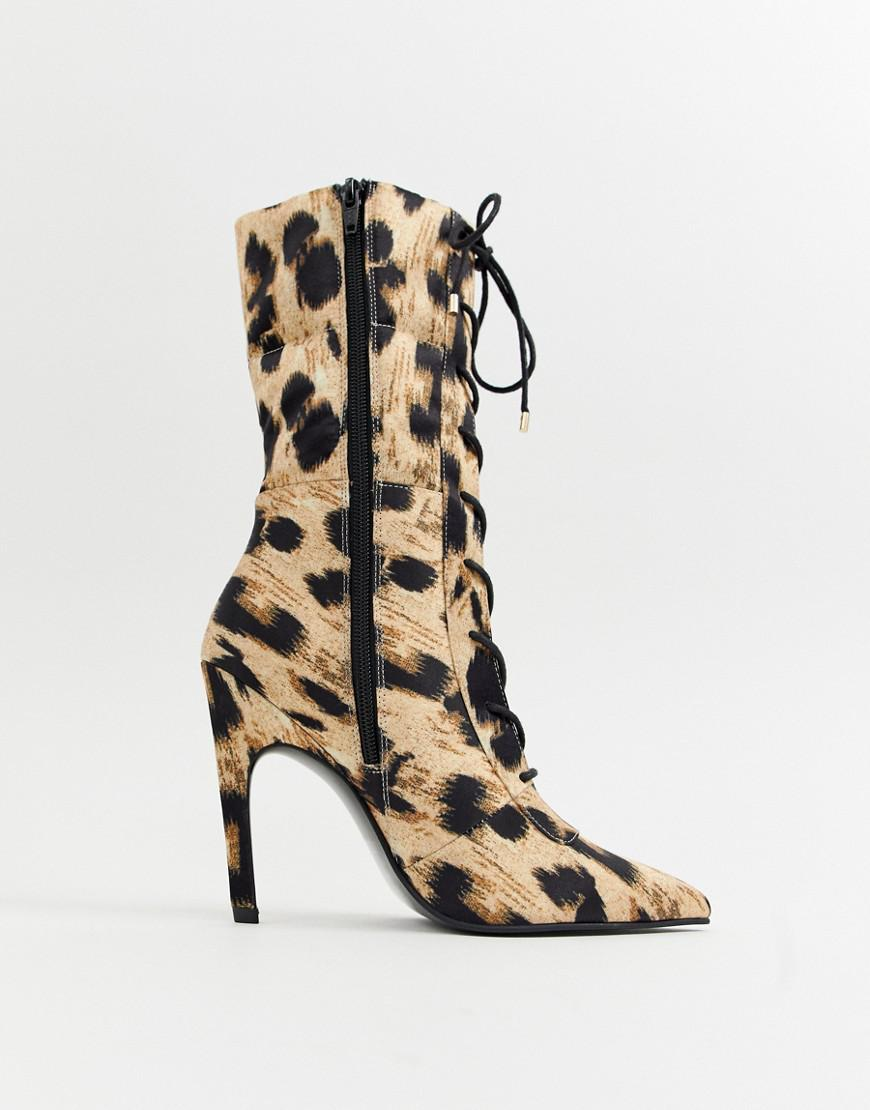 89df1b7907a Lyst - ASOS X Laquan Smith Padded Ankle Boot In Leopard Print
