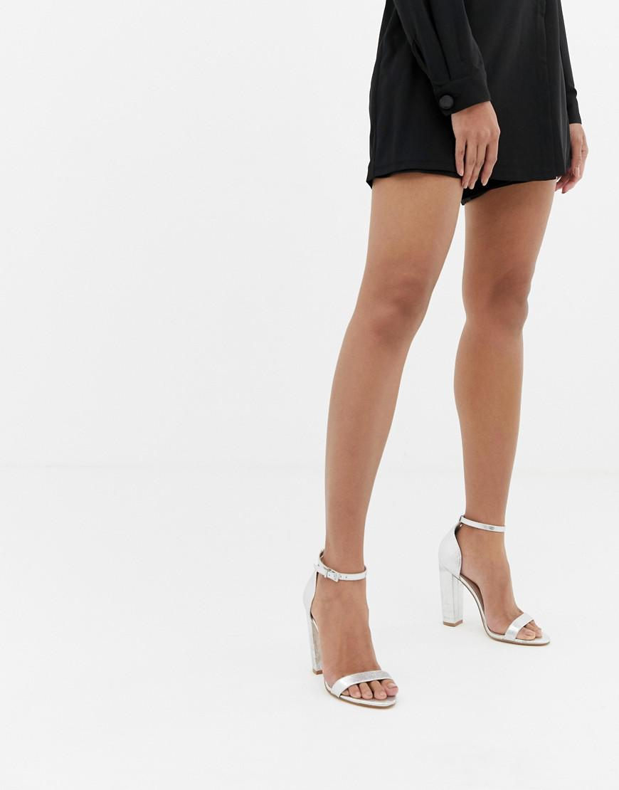 46a0e47fcf93 Lyst - ASOS Highball Barely There Block Heeled Sandals in Metallic