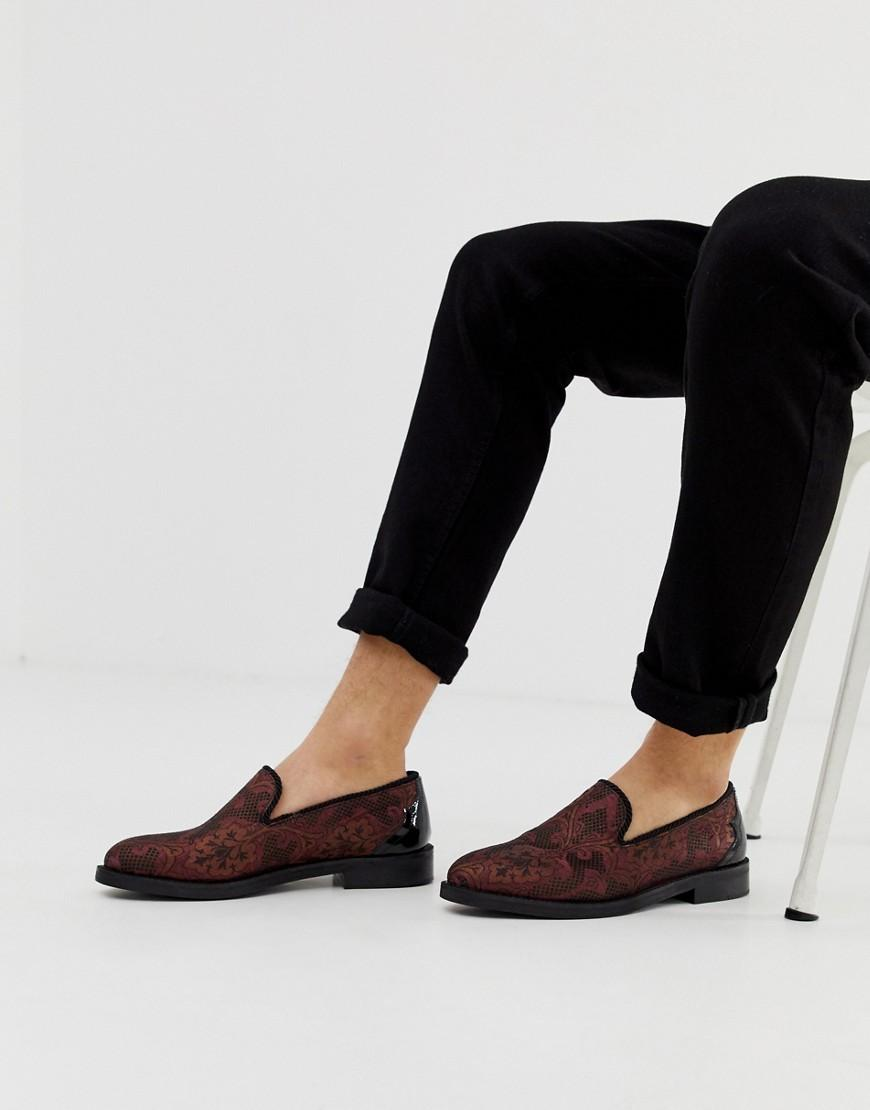 8e2adfc82e0 Lyst - House Of Hounds Wide Fit Styx Loafers In Plum Broacade in Purple for  Men