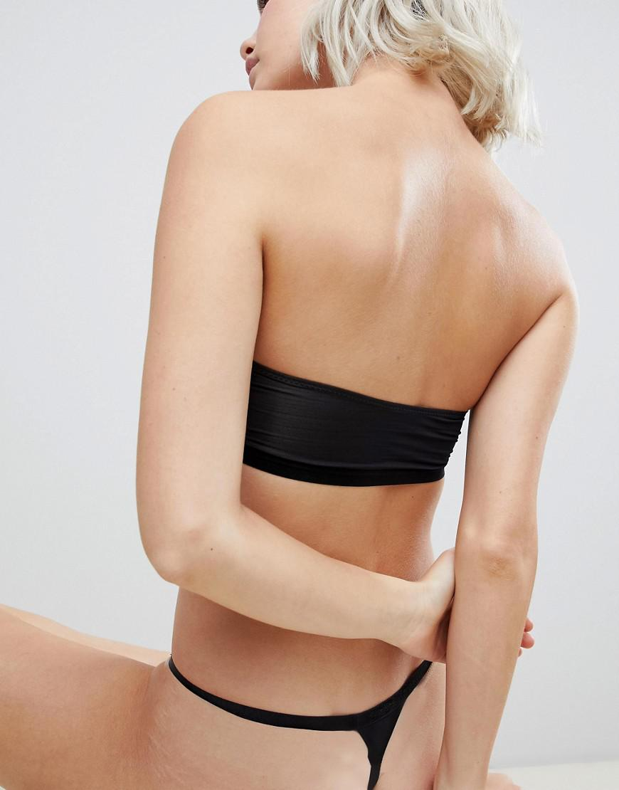 8034f07fc896 Lyst - ASOS Recycled Microfibre Thong in Black