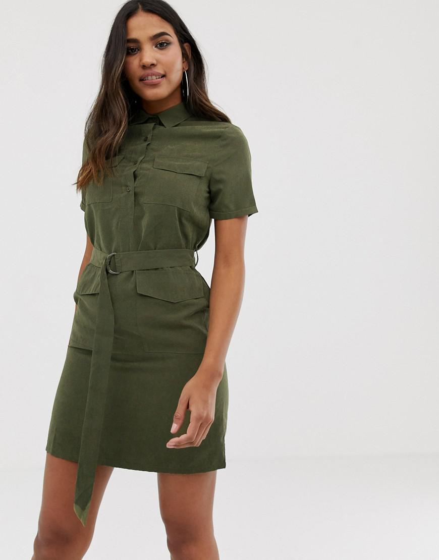 373793061833 Boohoo Belted Utility Mini Shirt Dress With Pockets In Khaki in ...